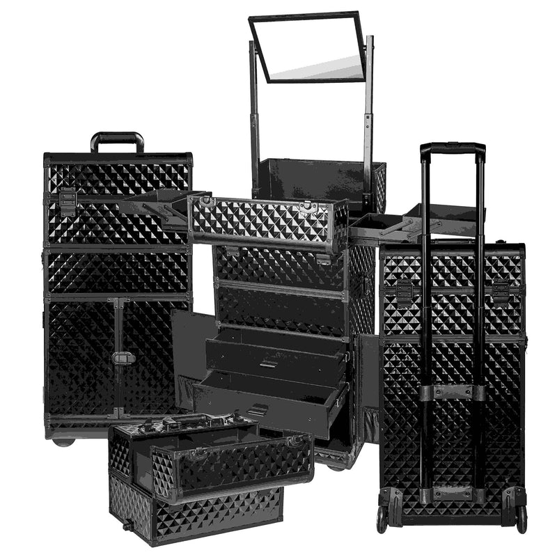 "SHANY REBEL Series Pro Makeup Artists Rolling Train Case Trolley Case Black - BLACK - ITEM# SH-REBEL-BK - <span style=""color: rgb(0, 0, 0); font-family: arial,helvetica,sans-serif; font-size: 12px;"">SHANY cases are known to be incredibly useful and incredibly trendy. The Rebel Collection is no exception. This case was"