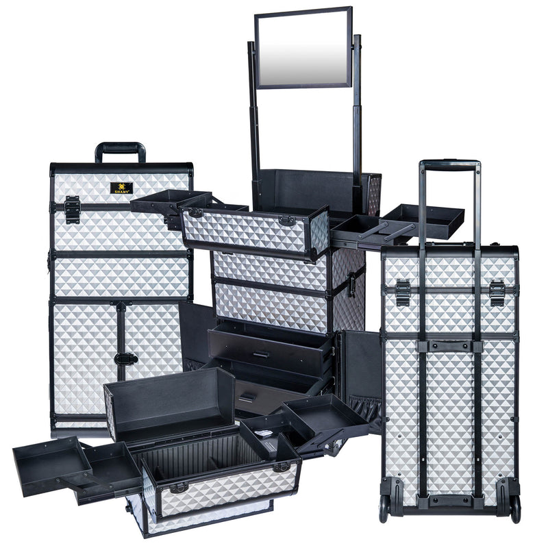 REBEL Series Pro Makeup Artists Rolling Train Case Trolley Case - Metallic Bond - SILVER - ITEM# SH-REBEL-SL - SHANY cases are known to be incredibly useful and incredibly trendy. The Rebel Collection is no exception. This case was developed with the feedback and suggestions from our #SHANYnation. This is made for pro