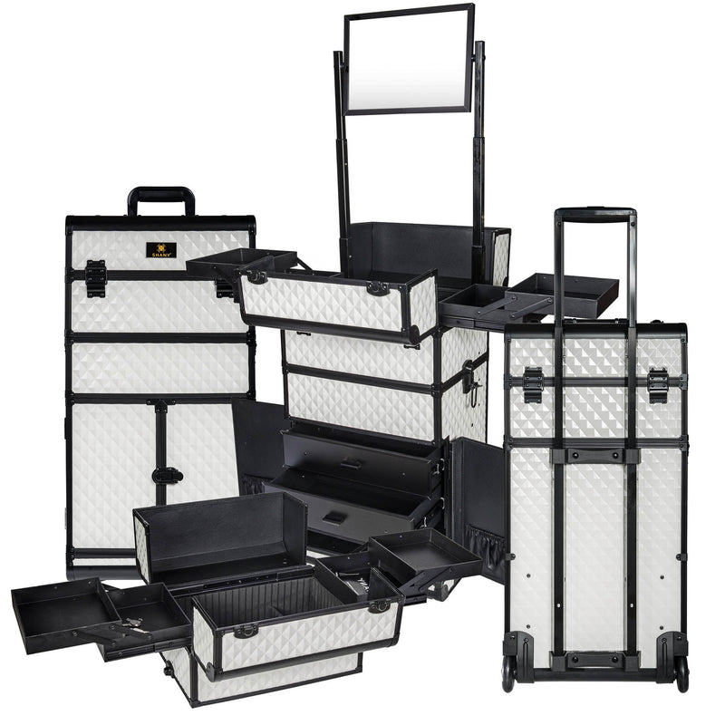 SHANY REBEL Series Pro Makeup Artists Rolling Train Case Trolley Case White - WHITE - ITEM# SH-REBEL-WH - SHANY cases are known to be incredibly useful and incredibly trendy. The Rebel Collection is no exception. This case was developed with the feedback and suggestions from our #SHANYnation. This is made for professi