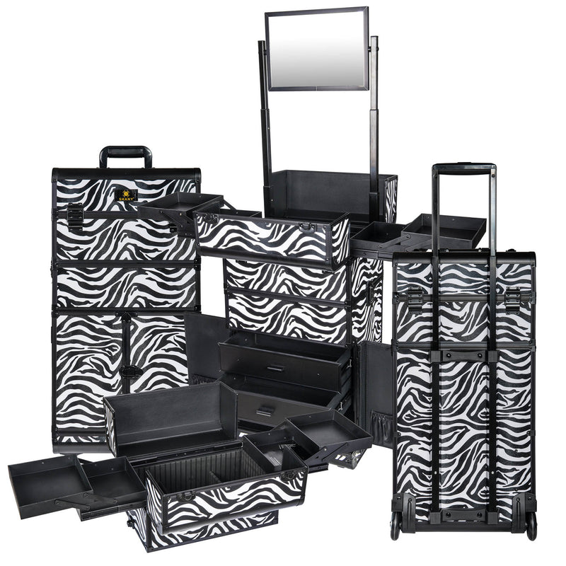 SHANY REBEL Series Pro Makeup Artists Rolling Train Case Trolley Case Zebra - ZEBRA - ITEM# SH-REBEL-ZB - SHANY cases are known to be incredibly useful and incredibly trendy. The Rebel Collection is no exception. This case was developed with the feedback and suggestions from our #SHANYnation. This is made for professi