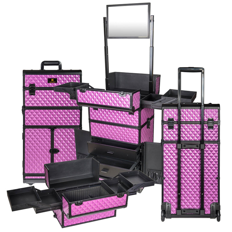 SHANY REBEL Series Pro Makeup Artists Rolling Train Case Trolley Case Purple - PURPLE - ITEM# SH-REBEL-PR - SHANY cases are known to be incredibly useful and incredibly trendy. The Rebel Collection is no exception. This case was developed with the feedback and suggestions from our #SHANYnation. This is made for profes
