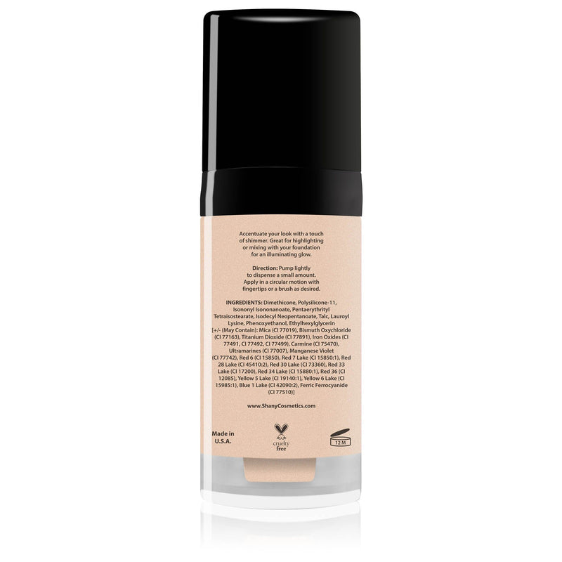 SHANY Paraben Free HD Liquid Shimmer Luminizer - GOLDEN SECRET - GOLDEN SECRET - ITEM# SHL-C - You can carry beautiful soft lighting in a bottle with the SHANY Liquid Shimmer Luminizer! This portable bottle houses a long-lasting liquid highlighter to give you that gorgeous Hollywood glow.   Our shades can easily take