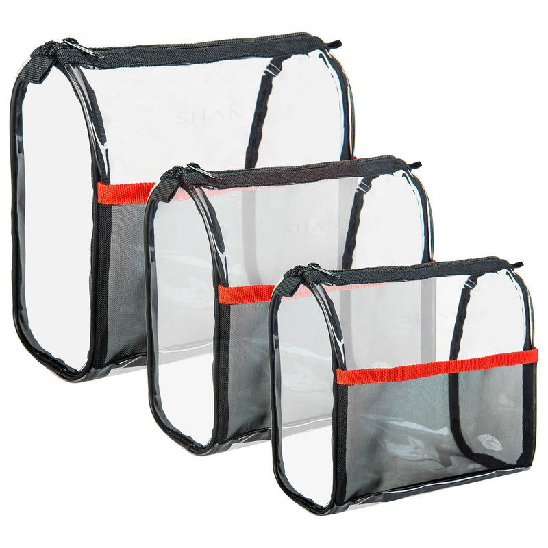 SHANY Travel Makeup Bags - Clear Cosmetics Bags - 3 Assorted sizes - Weekend Adventure Trio - SHOP  - TRAVEL BAGS - ITEM# SH-PC05