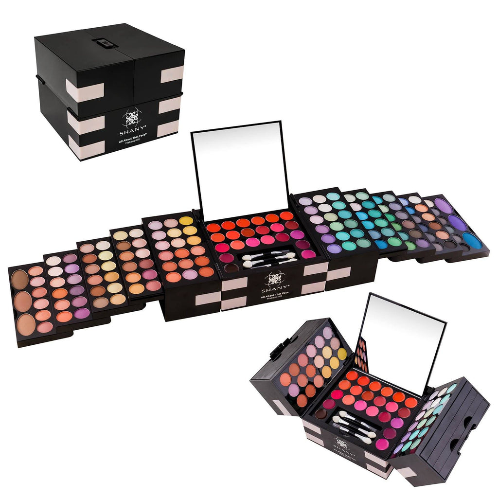 SHANY 'All About That Face' Kit -  - ITEM# SH-189 - Makeup set train case Contour makeup set kit gift,beginner makeup kits for teens makeup palette,Holiday Gift Set Beginner Makeup tools brush sets,pre teen make up makeup kits for teens girls,Christmas gift Dress-Up Toy pretend Makeup kit set - UPC# 616450437640