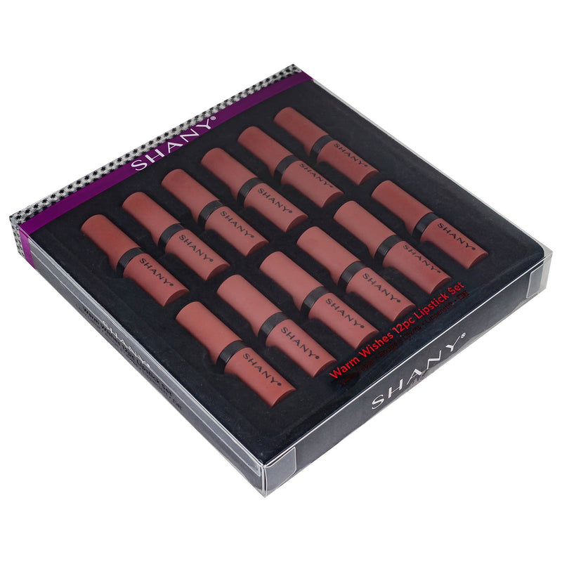 SHANY 12-Piece Professional Lipstick Set with Various Finishes - Warm Wishes - WARM - ITEM# SH-0012LP-WM - Makeup pros and beauty lovers will be smitten by these reds, oranges and browns, which work for warm complexions of any skin tone. Highly-pigmented and creamy, these anything but boring buss-stoppers have staying