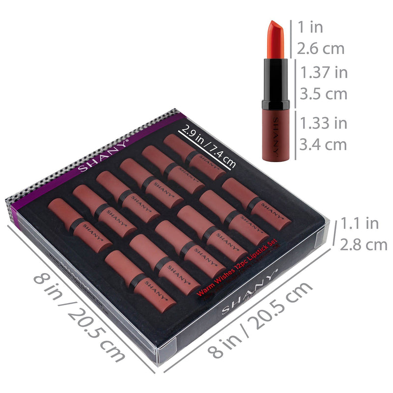 SHANY 12-Piece Lipstick Set - Warm Wishes - WARM - ITEM# SH-0012LP-WM - Best seller in cosmetics LIP SETS category