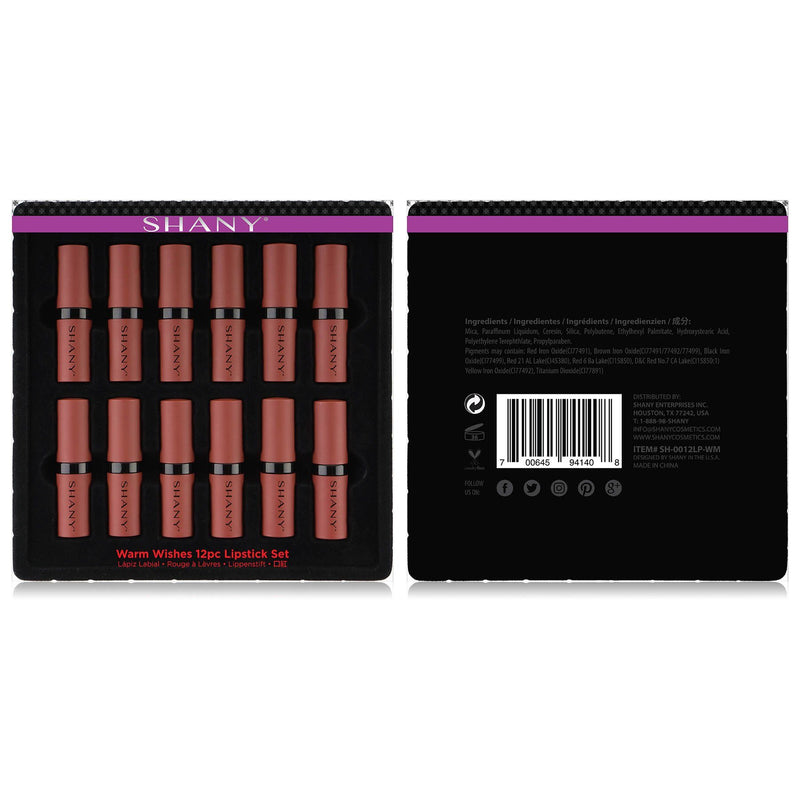 SHANY 12-Piece Lipstick Set - Warm Wishes