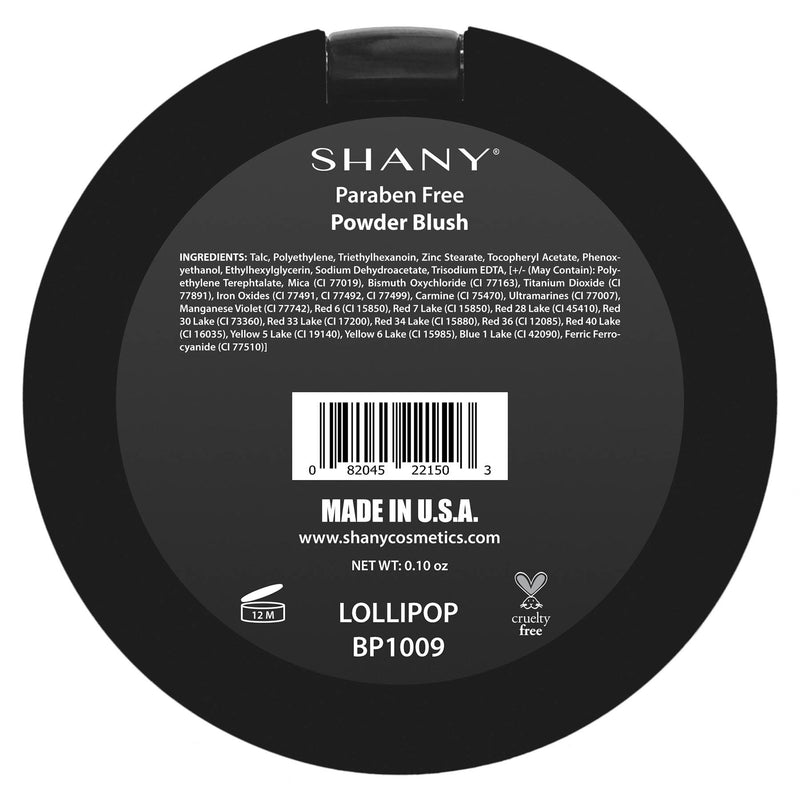 SHANY Paraben Free Powder Blush - LOLLIPOP - LOLLIPOP - ITEM# BP1009 - Natural beauty or 1940's glam? Boho Chic or Punk Rock Princess? Whatever you decide to be today, the SHANY Powder Blush can help take you there! Our powder blush comes in a range of beautiful colors for all skin tones and moods.  These shades have