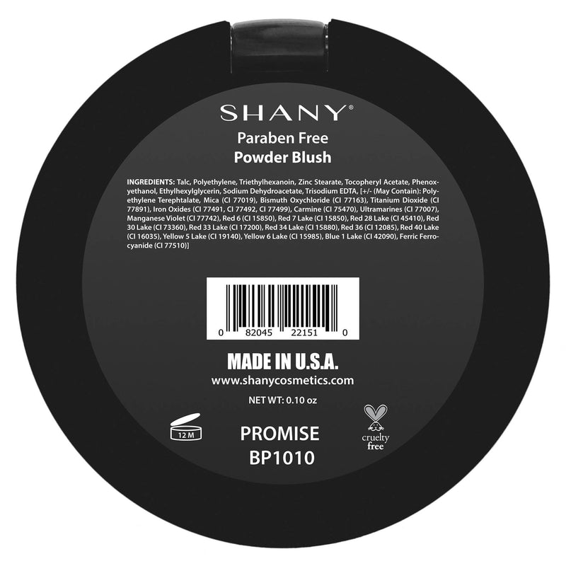 SHANY Paraben Free Powder Blush - PROMISE - PROMISE - ITEM# BP1010 - Natural beauty or 1940's glam? Boho Chic or Punk Rock Princess? Whatever you decide to be today, the SHANY Powder Blush can help take you there! Our powder blush comes in a range of beautiful colors for all skin tones and moods.  These shades have a