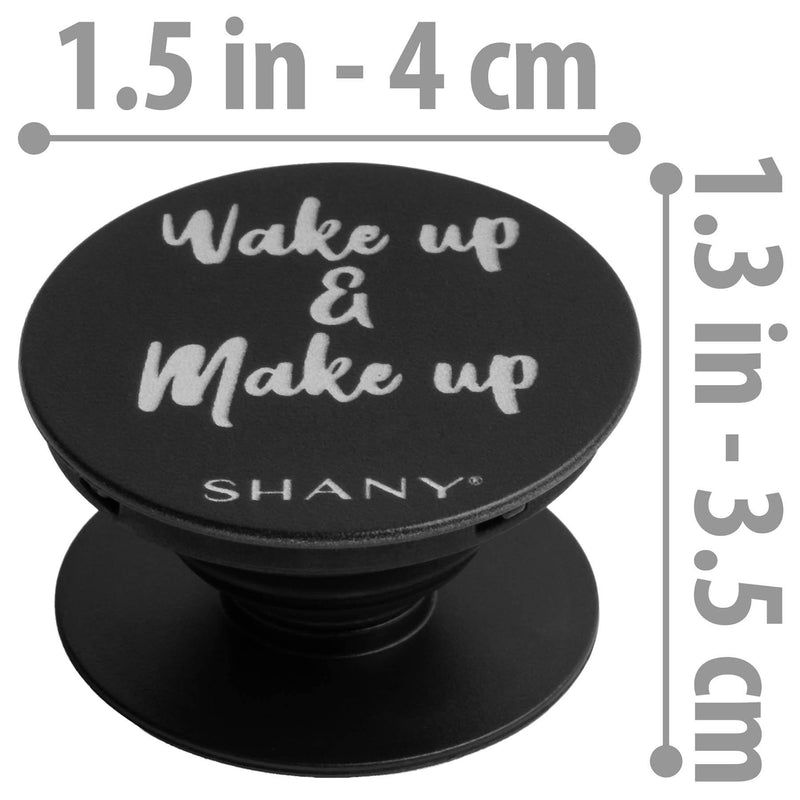 SHANY Mobile Phone Holder - Collapsible Phone Grip & Stand with Custom Quote -  - ITEM# SH-POP-BK - The SHANY Mobile Phone Holder is a small grip and stand, perfect for all ages. Open to reveal a custom PopSocket to stick on the back of your cell phone to use as a device holder or stand. This mobile phone holder is cu