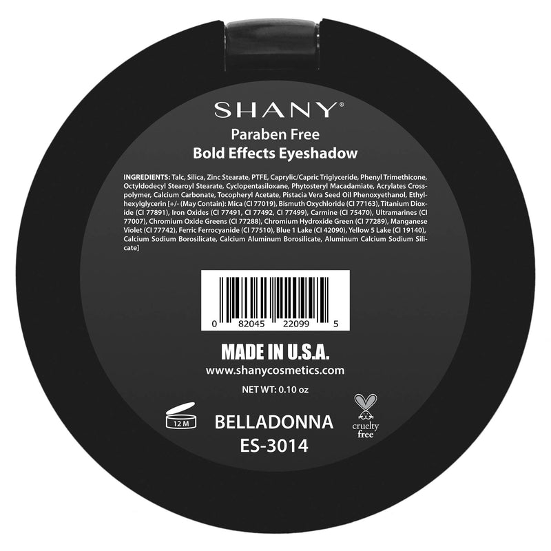 "SHANY Matte Eyeshadow - Paraben Free - BELLADONNA - BELLADONNA - ITEM# ES-3014 - From the creators of The Masterpiece 7 Layer 'All-in-one"" makeup set, SHANY brings you their marvelous Matte Eye Shadow collection! Our classic matte shades are the essential staple for any makeup enthusiast. These eye shadows glide on li"
