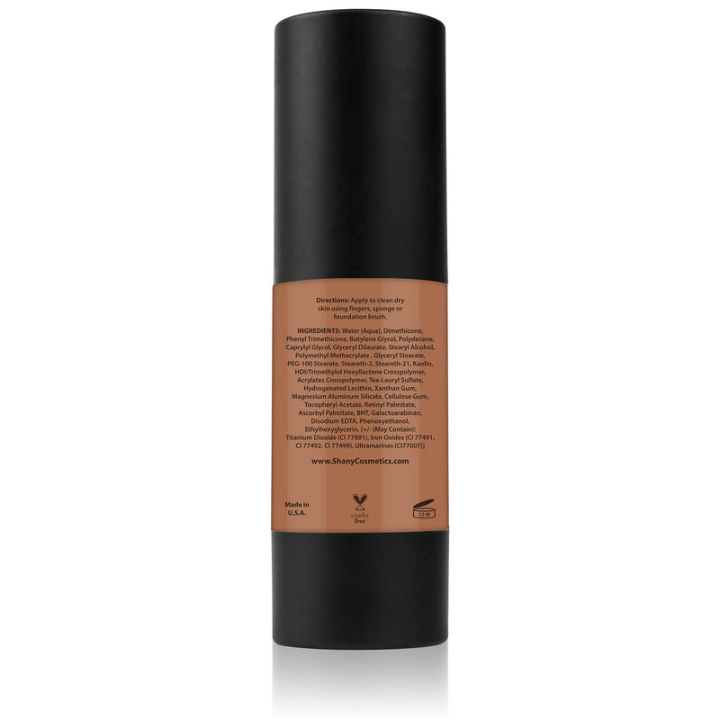SHANY Perfect Canvas Liquid Foundation - Paraben Free/Talc Free/Oil Free - 30ml - DARK COOL 1 - ITEM# FL-DC1 - You don't need to spend hundreds of dollars for the cover-model complexion. The SHANY Perfect Canvas Foundation is like professional re-touching in a jar! This foundation soft has focus powders to bounce ligh