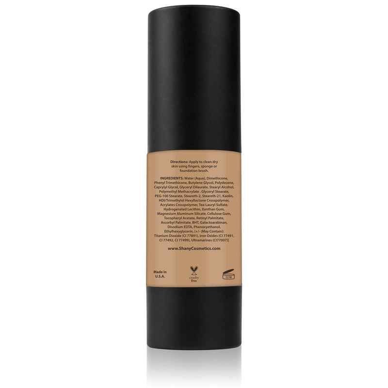 SHANY Perfect Canvas Liquid Foundation - Paraben Free/Talc Free/Oil Free - 30ml - MEDIUM WARM 4 - ITEM# FL-MW4 - You don't to spend hundreds of dollars for the cover-model complexion. The SHANY Perfect Canvas Foundation is like professional re-touching in a jar! This foundation soft has focus powders to bounce light o