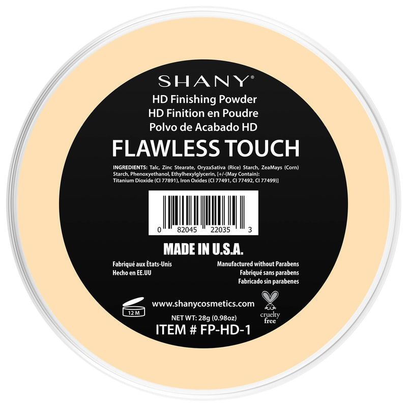 SHANY HD Finishing Powder Translucent - Paraben Free- FLAWLESS TOUCH - FLAWLESS TOUCH - ITEM# FP-HD-1 - Do you want that flawless cover model look? Try the SHANY HD Finishing Powder! A perfect product for all skin-types, this HD will leave your face smooth and photographs fabulously.  This finely milled invisible powd