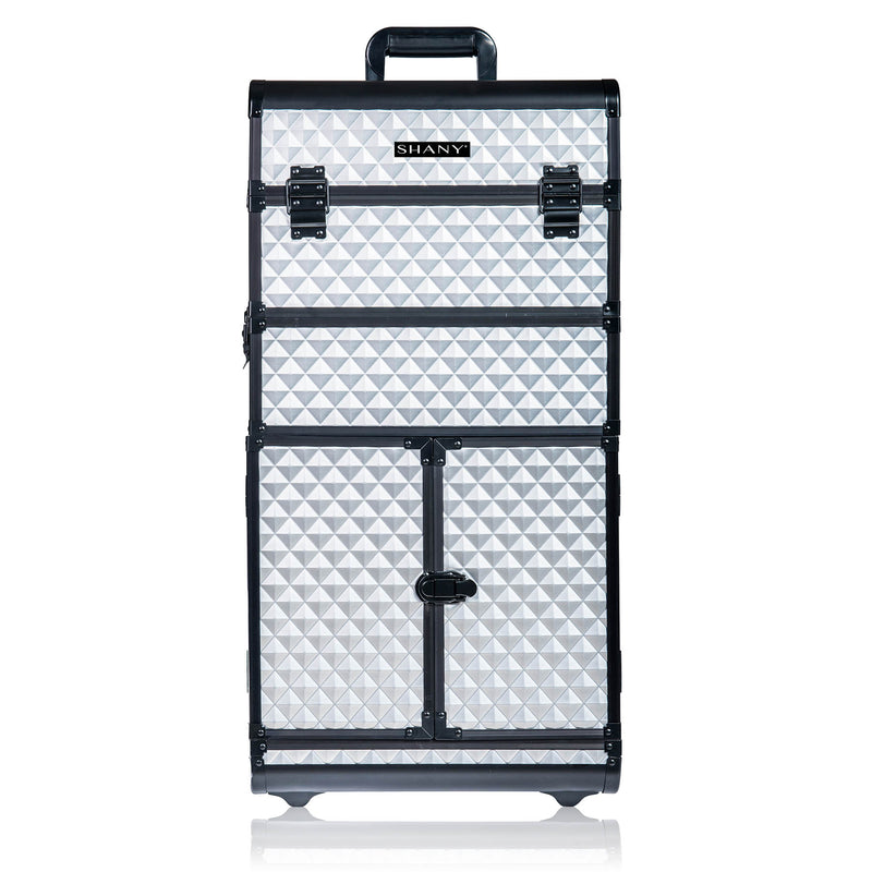 SHANY REBEL Series Pro Makeup Artists Rolling Train Case - Trolley Case - Metallic Bond - SHOP SILVER - ROLLING MAKEUP CASES - ITEM# SH-REBEL-SL