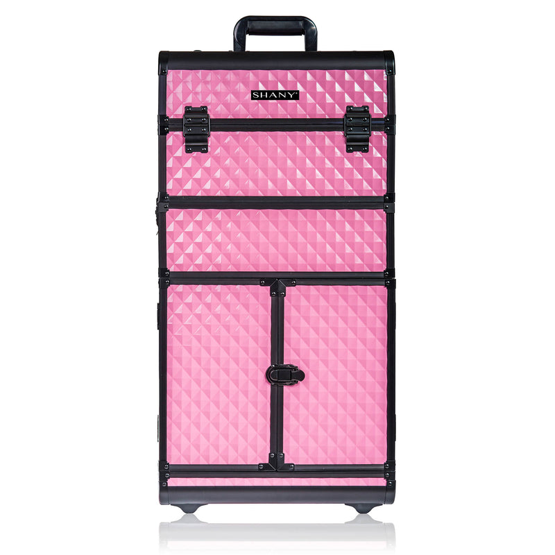 SHANY REBEL Series Pro Makeup Artists Rolling Train Case - Trolley Case - Provocative Rose - SHOP PINK - ROLLING MAKEUP CASES - ITEM# SH-REBEL-PK