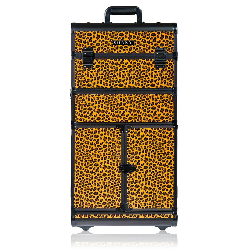 SHANY REBEL Series Pro Makeup Artists Rolling Train Case - Trolley Case - Spring Cheetah - SHOP BROWN - ROLLING MAKEUP CASES - ITEM# SH-REBEL-LP