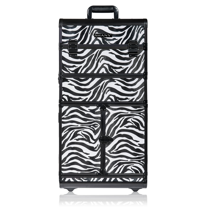 SHANY REBEL Series Pro Makeup Artists Rolling Train Case - Trolley Case - Zoo attack - SHOP ZEBRA - ROLLING MAKEUP CASES - ITEM# SH-REBEL-ZB