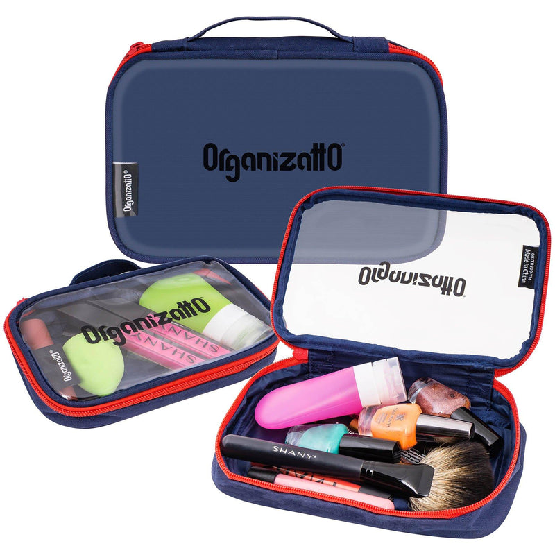 Organizatto Cosmetics Organizer 3-in-1 Set - Three Portable Zipper Cloth Handbags with Clear PVC Opening in Navy Blue - 3 PC - SHOP  - TRAVEL BAGS - ITEM# OR-TB300-TM