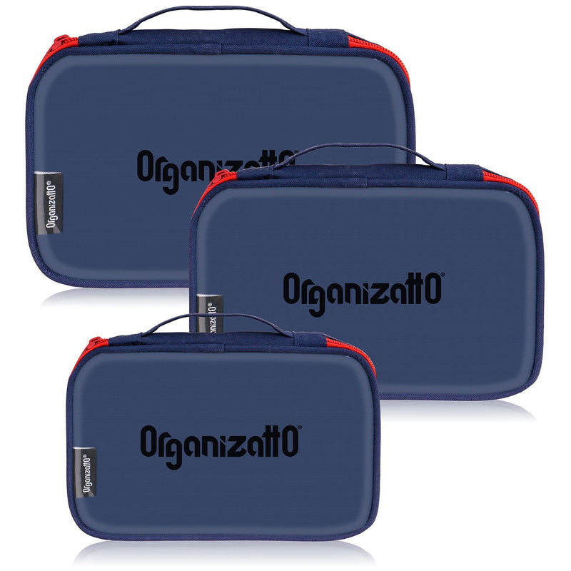 SHANY Organizatto Cosmetic Organizer 3-in-1 Set with Clear PVC Opening in NAVY -  - ITEM# OR-TB300-TM - The Organizatto Cosmetics Organizer Set is the 3-in-1 handbag set to ease all your travel stress. Made with a soft yet sturdy cloth material and clear PVC, this set is perfect for organizing your everyday purse or t