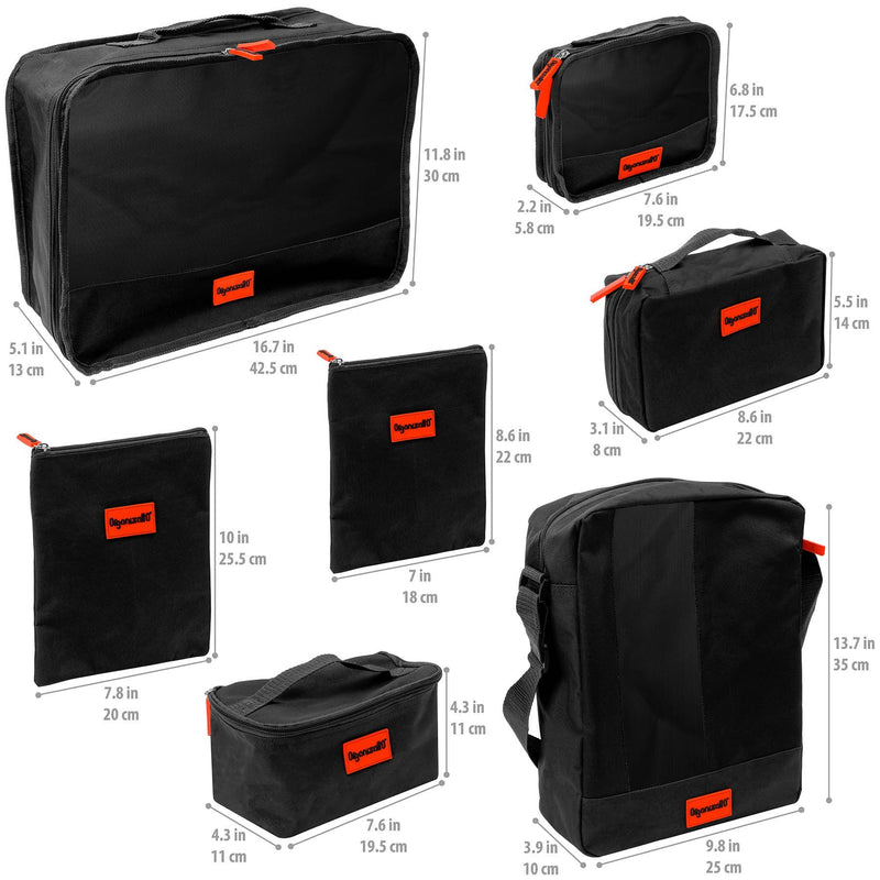 SHANY Organizatto Travel Organizer 7-in-1 Set - BLACK - ITEM# OR-TB700-BK - mens toiletry travel bag Canvas Vintage Dopp Kit,Travel makeup women girls train case box storage,Shaving Grooming bag storage bag toiletry bag TSA,Portable Shaving Bag gift for men him father son,Toiletry Organizer Hygiene Bag Unisex makeup bag - UPC# 700645941712