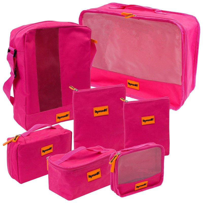 SHANY Cosmetics Organizatto Travel Make-up Organizer 7-in-1 Portable Zippered Travel cosmetics bags Storage with Mesh Openings - PINK - SHOP PINK - TRAVEL BAGS - ITEM# OR-TB700-PK