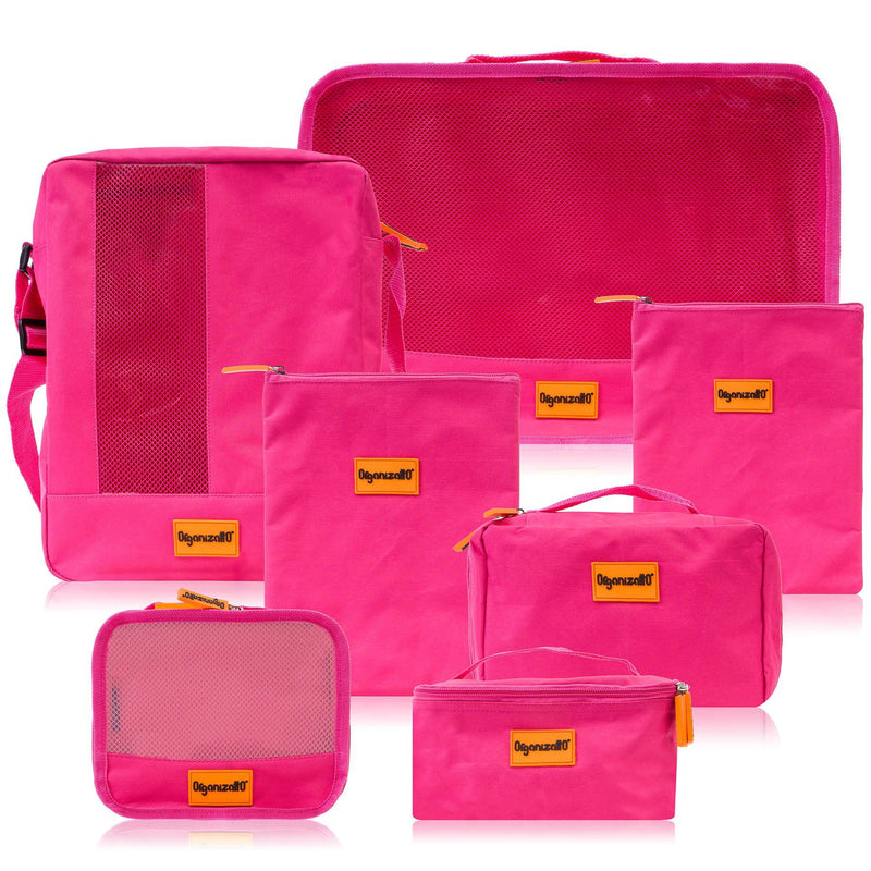 Organizatto Cosmetics Travel Organizer 7-in-1 Set - PINK - ITEM# OR-TB700-PK - Best seller in cosmetics TRAVEL BAGS category