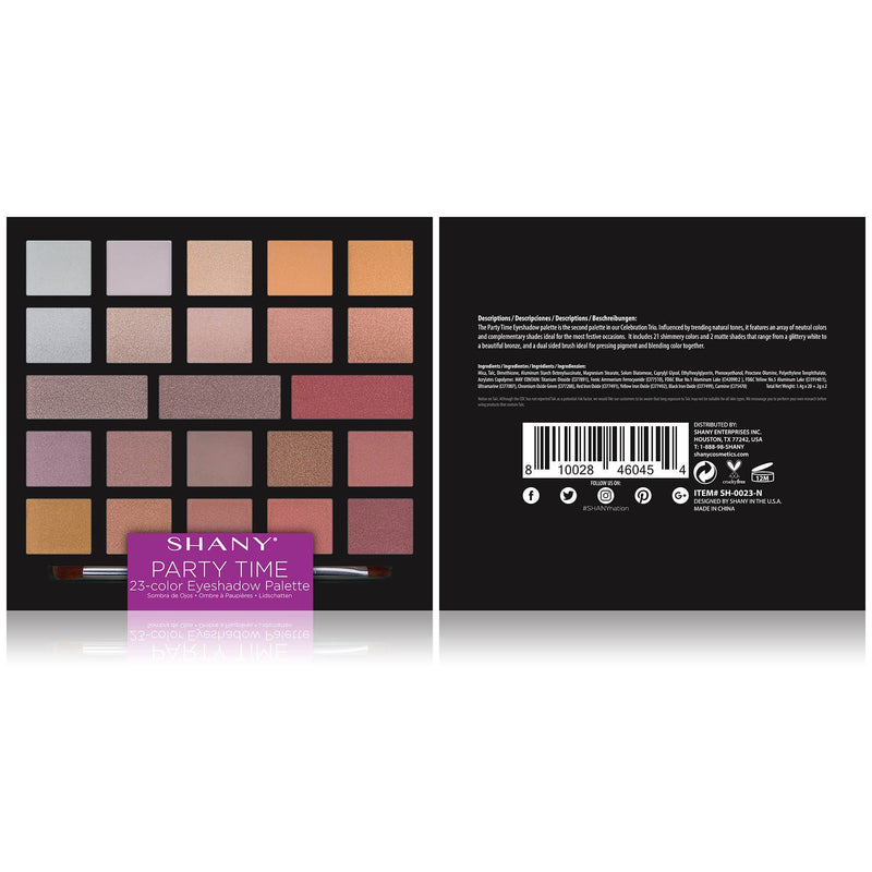 SHANY Party Time Eyeshadow Palette - 23 Matte & Shimmer Eye Color Shades - PARTY-TIME - ITEM# SH-0023-N - The SHANY Party Time Eyeshadow Palette is a 23-color pigmented, long-lasting, blendable eye color palette. The assortment of warm-tone eye shades come in matte and shimmer finishes that are perfect for all skin to