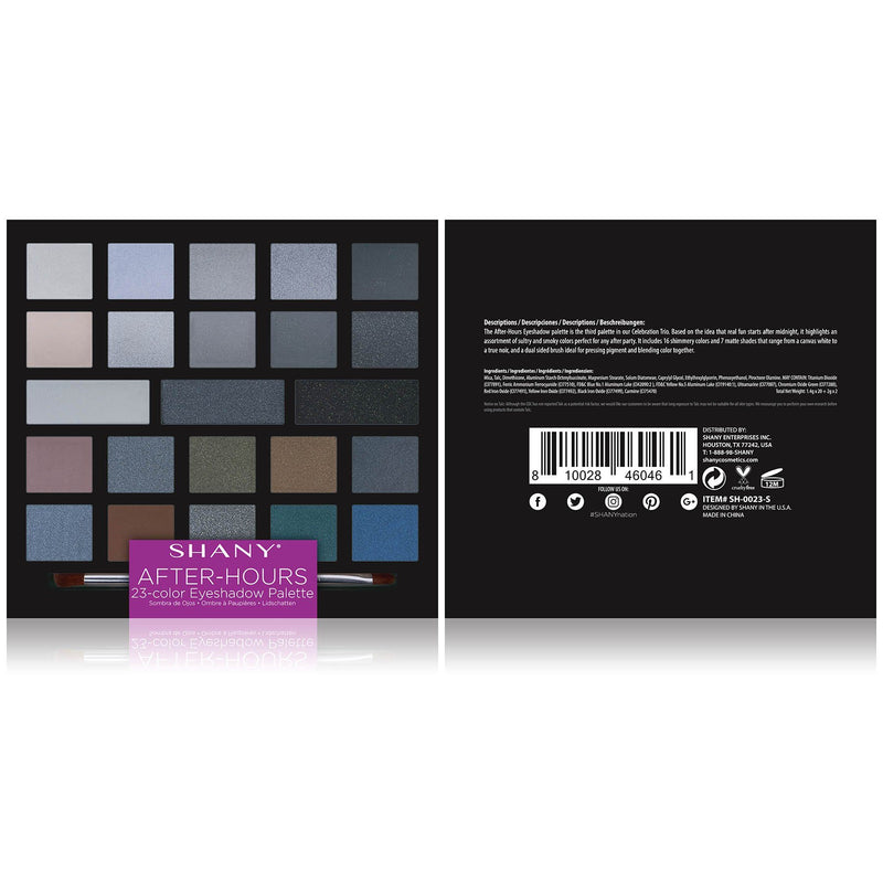 SHANY After-Hours Eyeshadow Palette - 23 Matte & Shimmer Eye Color Shades - AFTER-HOURS - ITEM# SH-0023-S - The SHANY After-Hours Eyeshadow Palette is a 23-color pigmented, long-lasting, blendable eye color palette. The assortment of smokey eye shades come in matte and shimmer finishes that are perfect for all skin to