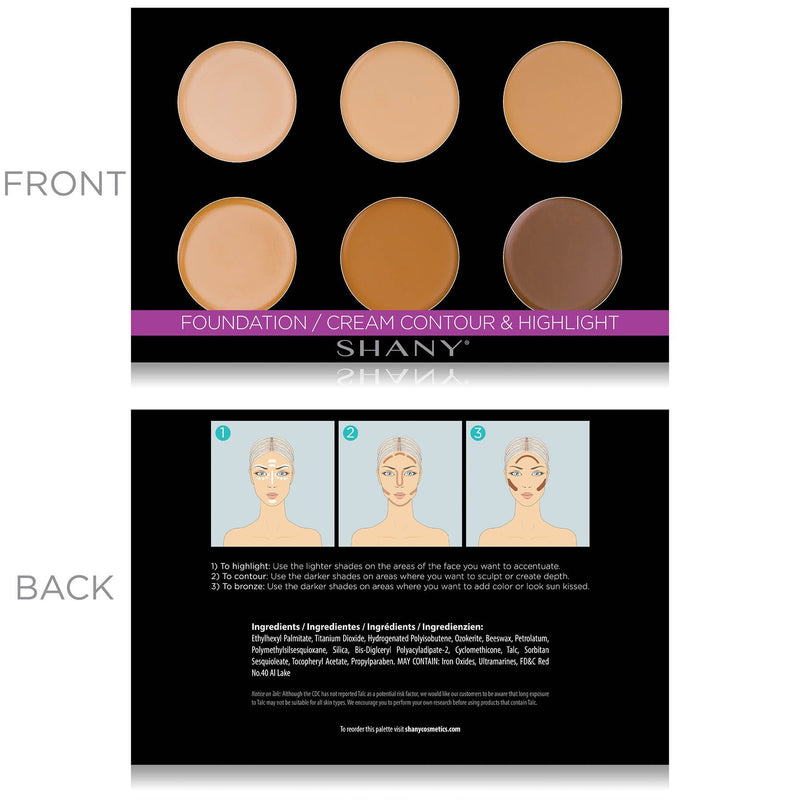 SHANY Foundation/Cream Contour & Highlighting Palette - Layer 1 Refill - CONTOUR - ITEM# SH-6L-01 - The SHANY Foundation/Cream Contour & Highlight palette is the first layer in our 6 Layer Mini Masterpiece Makeup Set. This palette, along with all of the palettes in this kit, is user-friendly and perfect for makeup