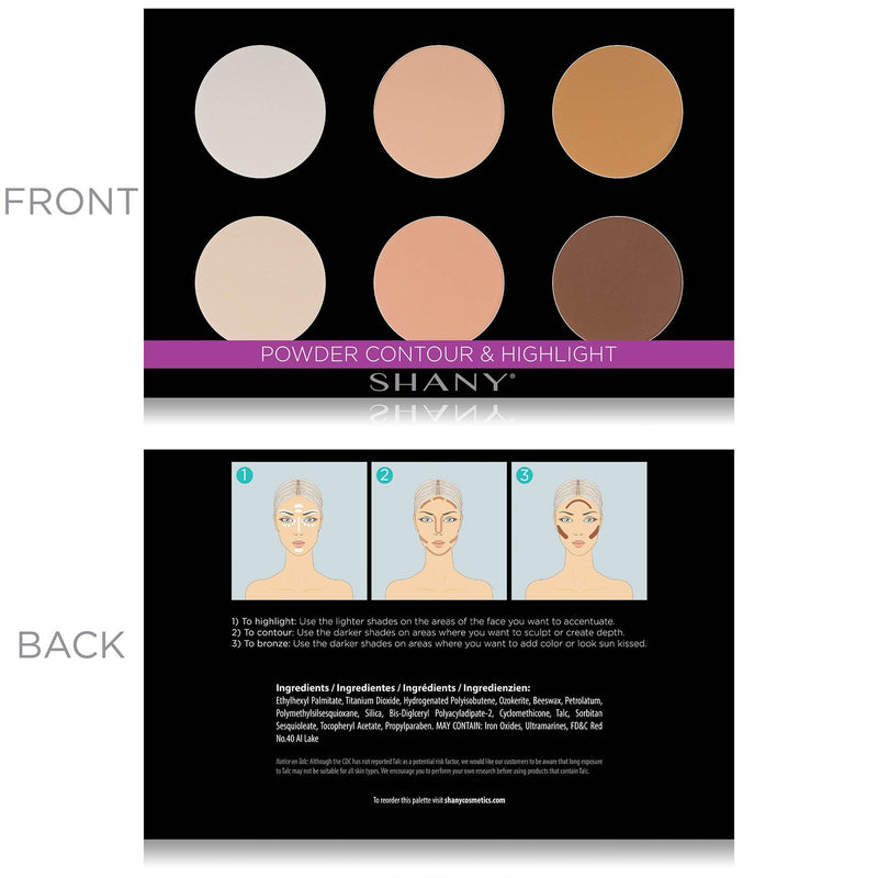 SHANY Powder Contour & Highlighter Sculpting Makeup Palette - Layer 3 Refill - POWDER - ITEM# SH-6L-03 - SHANY Powder Contour & Highlighter Sculpting Palette is the third layer in our 6 Layer Mini Masterpiece Collection Set. This palette, along with all of the palettes in this kit, is user-friendly and perfect for