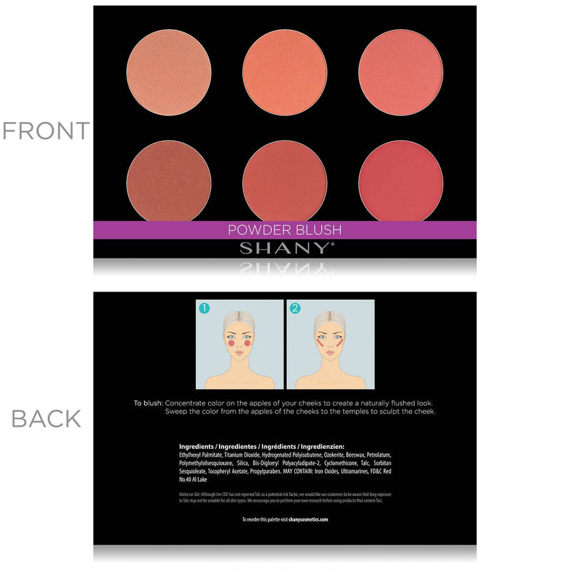 SHANY Shimmer & Matte Powder Warm-Toned Blush Palette - Layer 6 Refill - WARM BLUSH - ITEM# SH-6L-06 - The SHANY Shimmer & Matte Cool-Toned Blush Palette is the sixth layer in our 6 Layer Mini Masterpiece Collection Makeup Set. This palette, along with all of the palettes in this kit, is user-friendly and perfect
