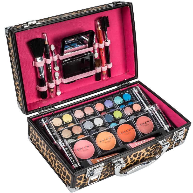 SHANY Makeup Train Case-Aluminum Case-Leopard - LEOPARD - ITEM# SH-10402-LP - Makeup set train case Contour makeup set kit gift,beginner makeup kits for teens makeup palette,Holiday Gift Set Beginner Makeup tools brush sets,pre teen make up makeup kits for teens girls,Christmas gift Dress-Up Toy pretend Makeup kit set - UPC# 723175178502