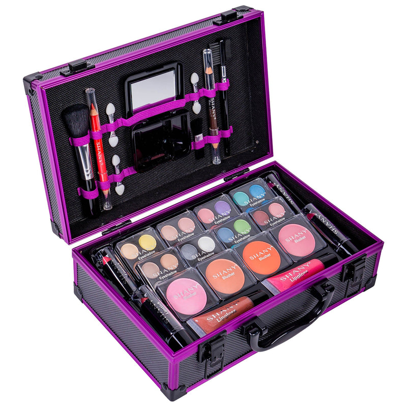 SHANY Carry All Makeup Train Case - PURPLE - PURPLE - ITEM# SH-10402-PR - Makeup set train case Contour makeup set kit gift,beginner makeup kits for teens makeup palette,Holiday Gift Set Beginner Makeup tools brush sets,pre teen make up makeup kits for teens girls,Christmas gift Dress-Up Toy pretend Makeup kit set - UPC# 700645935056