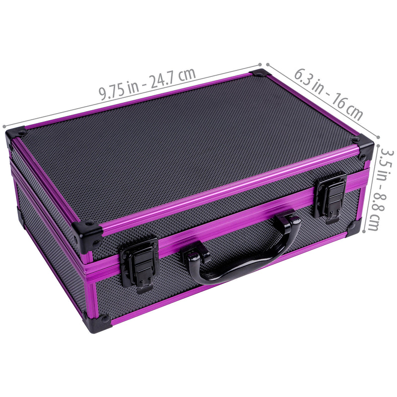 SHANY Carry All Makeup Train Case with Pro Makeup and Reusable Case - PURPLE - PURPLE - ITEM# SH-10402-PR - The SHANY Carry All Makeup Train Case - PURPLE is a durable and portable purple aluminum case that comes with a variety of stylish / high quality makeup that best fits your on-the-go lifestyle. This case comes w