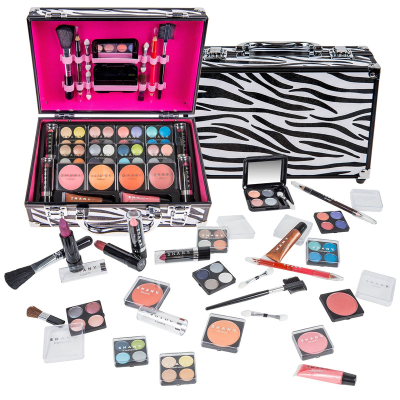 SHANY Carry All Makeup Train Case with Pro Makeup and Reusable Aluminum Case - Zebra - SHOP ZEBRA - MAKEUP SETS - ITEM# SH-10402-ZB