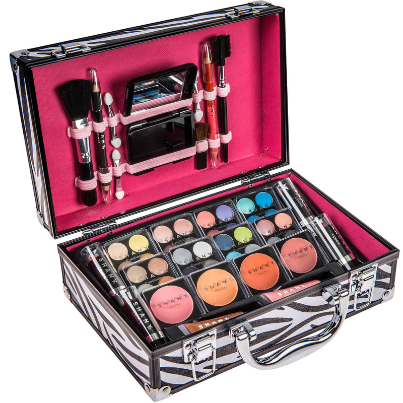 SHANY Makeup Train Case-Aluminum Case-Zebra - ZEBRA - ITEM# SH-10402-ZB - Makeup set train case Contour makeup set kit gift,beginner makeup kits for teens makeup palette,Holiday Gift Set Beginner Makeup tools brush sets,pre teen make up makeup kits for teens girls,Christmas gift Dress-Up Toy pretend Makeup kit set - UPC# 723175178519