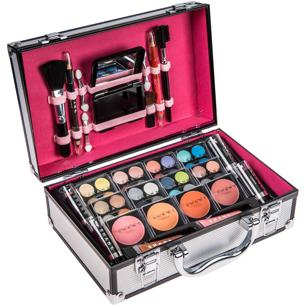 SHANY Carry All Makeup Train Case with Pro Makeup, Reusable Aluminum Train Case -  - ITEM# SH-10402-PARENT - This durable and portable leopard print case by SHANY comes with a variety of stylish / high quality makeup that best fits your on-the-go lifestyle. This case comes with: eight shadow quads with shimmer and mat