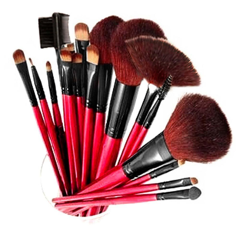 Professional 12 Piece Natural Goat and Badger Cosmetic Brush Set with Pouch - SHANY