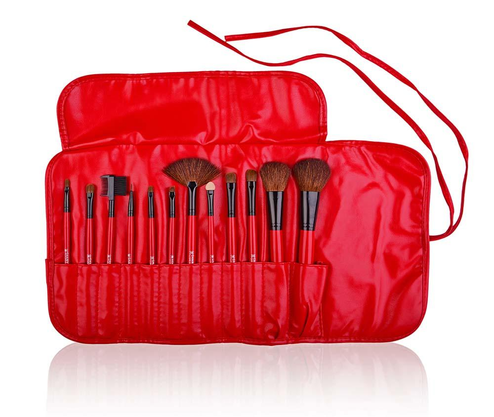 SHANY Professional Goat Brush Set- Red- 12pc - 12PC - ITEM# SH-13PCBRUSH-RD - makeup contour brush set Holiday gift for her mom,it cosmetics brushes BH brush set BS-MALL Makeup,morphe brush set Makeup Brushes Premium Synthetic,cosmetics brush set applicator makeup brush sets,makeup brush set with case Zoreya brush bag makeup - UPC# 654367284230