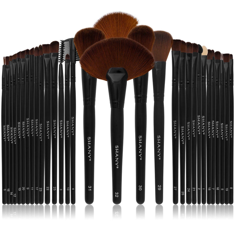 SHANY Professional Brush Set with Faux Leather Pouch, 32 Count, Synthetic Bristles - SHOP  - BRUSH SETS - ITEM# SH-32PCBRUSH