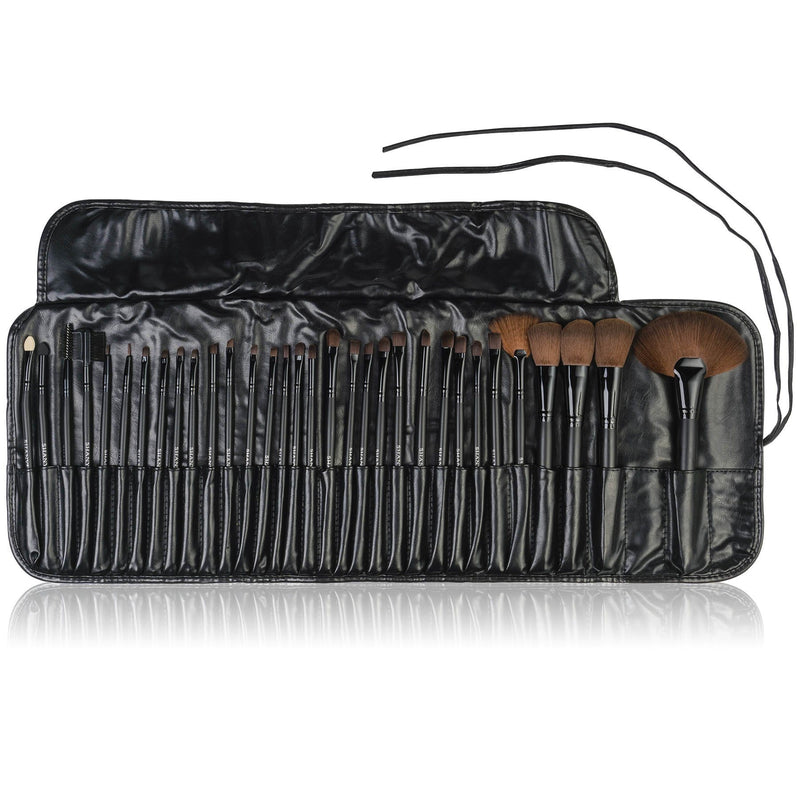 SHANY Professional Brush Set with Faux Leather Pouch, 32 Count Synthetic Bristles -  - ITEM# SH-32PCBRUSH - Our exclusively selected synthetic hair mineral makeup brushes will make a great addition to your collection. This complete collection of luxury makeup brushes includes the essential brushes used by professional
