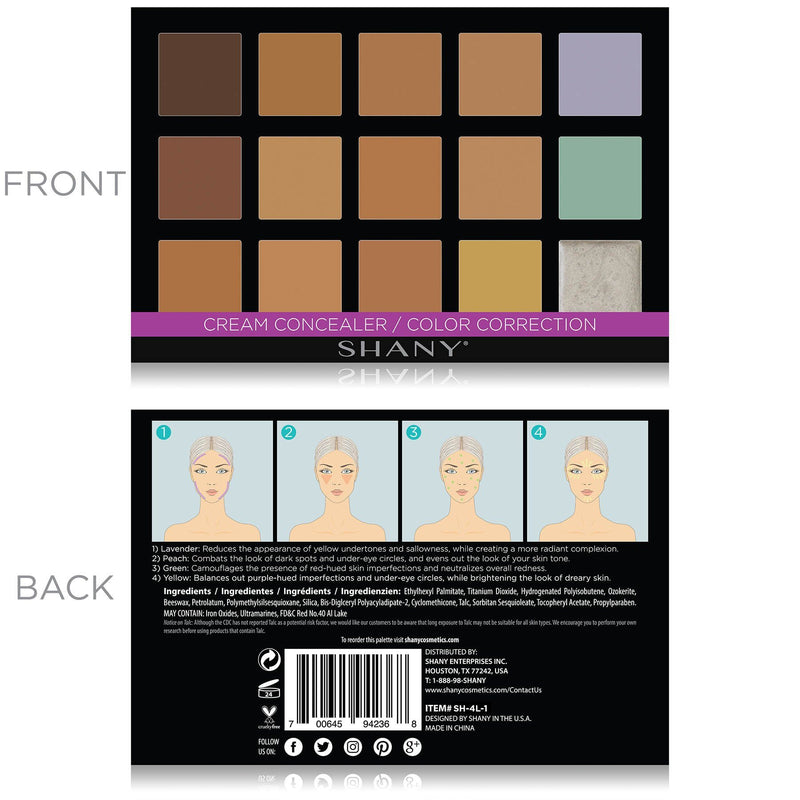 SHANY Cream Concealer/Color Correction Palette - CONCEALER - ITEM# SH-4L-1 - Best seller in cosmetics CONCEALER category