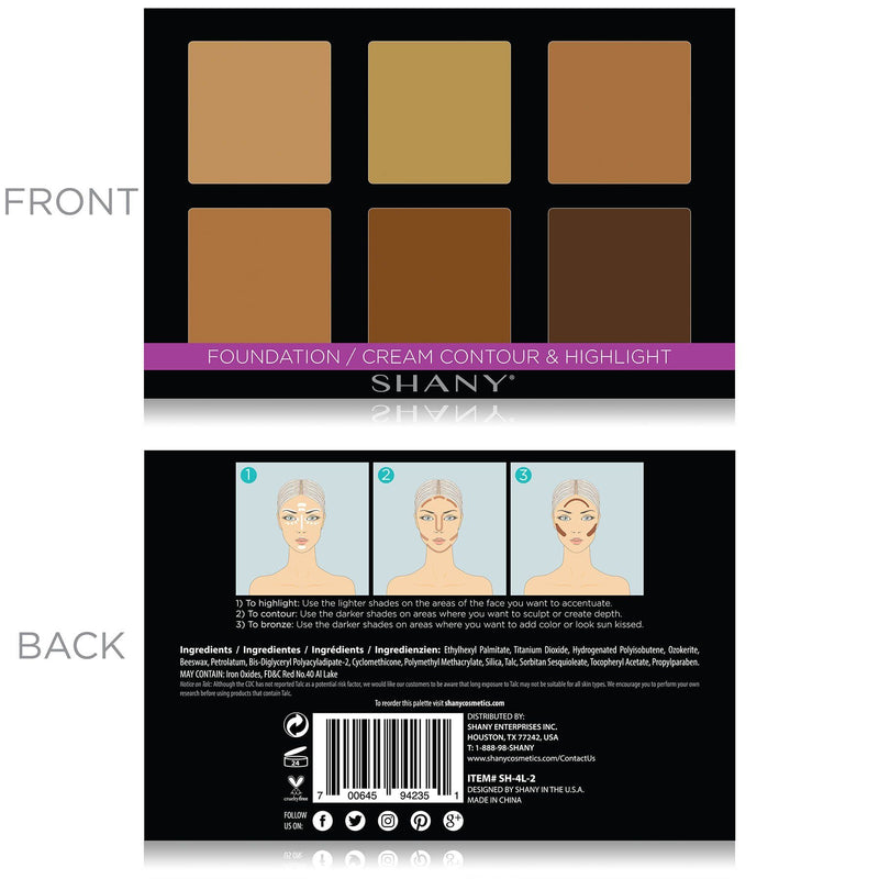 SHANY Foundation/Cream Contour & Highlight Palette - FOUNDATION - ITEM# SH-4L-2 - Best seller in cosmetics FOUNDATION category