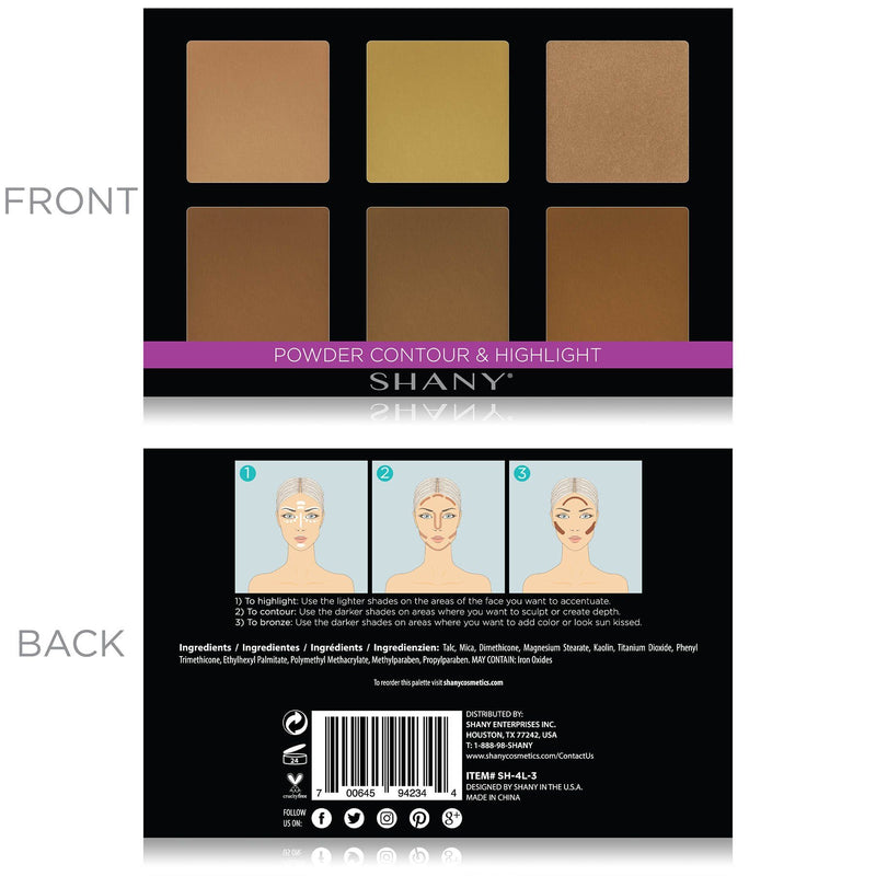 SHANY Powder Contour & Highlight Palette - CONTOUR - ITEM# SH-4L-3 - Best seller in cosmetics FACE POWDER category