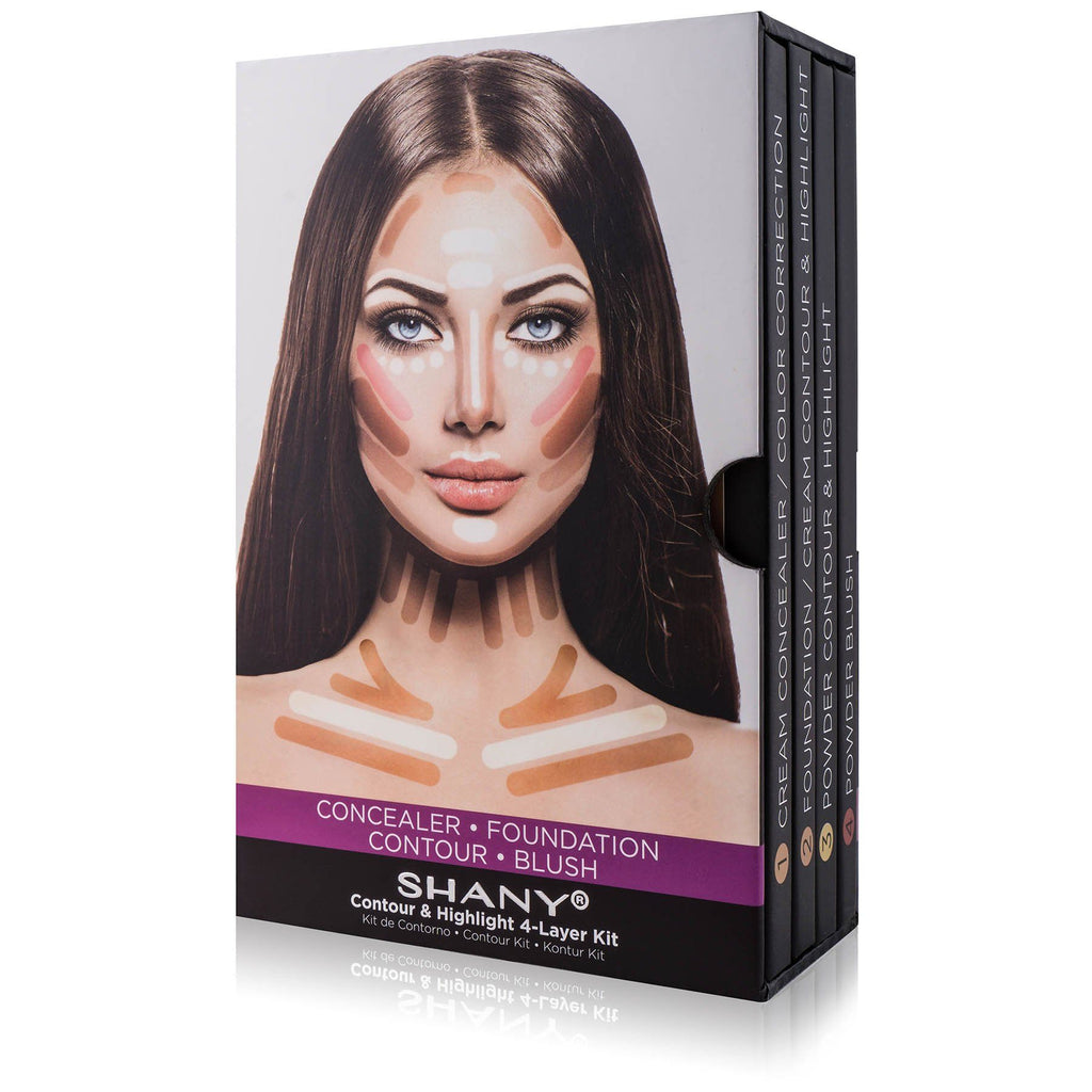 SHANY 4-Layer Contour and Highlight Makeup Kit - Set of Concealer/Color Corrector, Foundation, Contour/Highlight, and Blush Palettes - SHOP  - MAKEUP SETS - ITEM# SH-4L