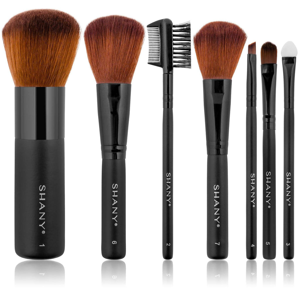 SHANY Studio Quality Auburn Synthetic Bristles Cosmetic Brush Set with Large Kabuki, 7 pc - SHOP  - BRUSH SETS - ITEM# SH-7PCBRUSH