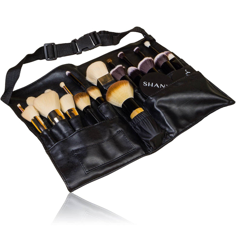SHANY Urban Gal Collection Makeup Apron - BLACK LEATHER - ITEM# SH-APRON-01 - Makeup brush bag pouch box clear travel case kit,Cosmetic sets holder kabuki cheap organizer best,Sephora mac small blush caddy train carrier purse,Containers rolling eye lip liquid foundation large,Professional style blending concealer vanity store - UPC# 738435231064