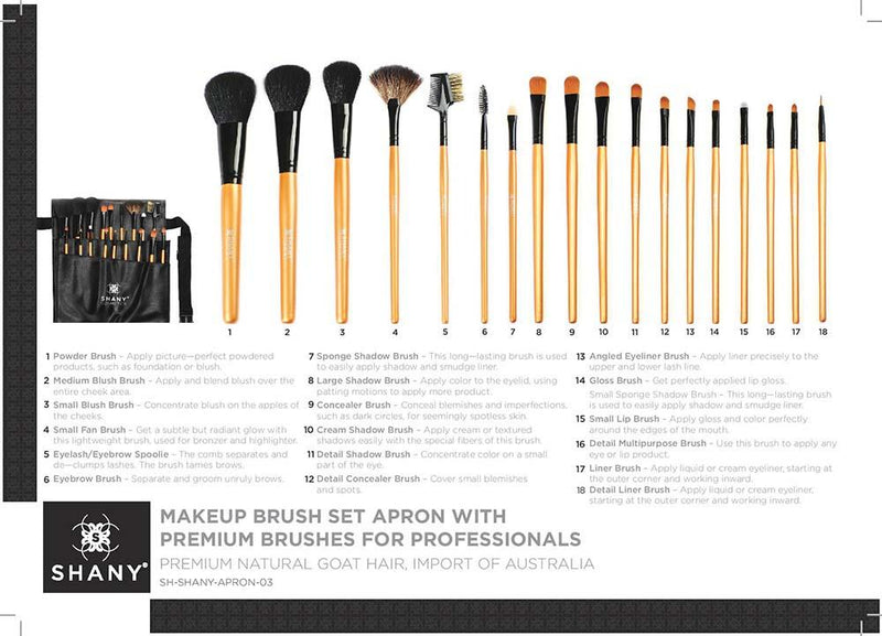 SHANY Makeup Brush & Apron- 18pc -  - ITEM# SH-APRON-03 - Best seller in cosmetics BRUSH SETS category