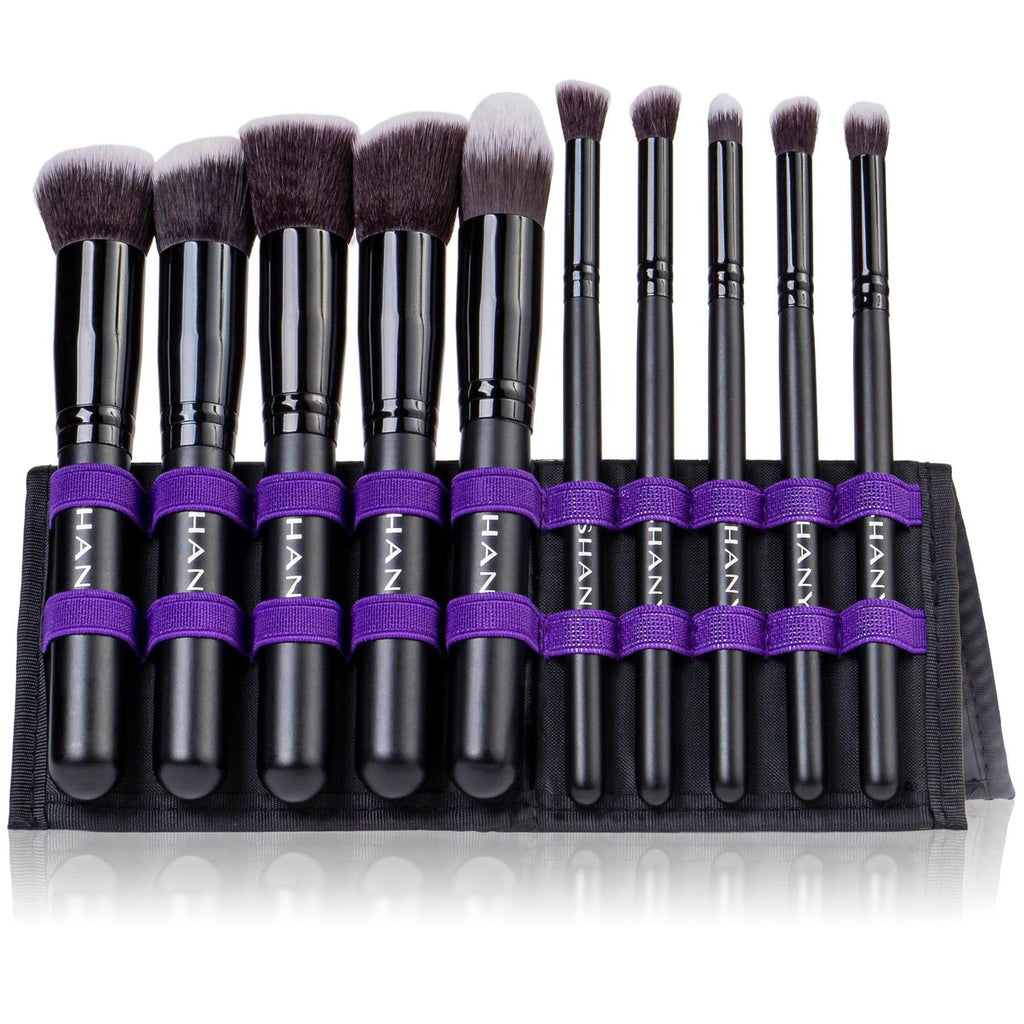 SHANY Mini Artisan's Easel – Elite Cosmetics Brush Collection - Complete Kabuki Makeup Brush Set with Standing Convertible Brush Holder - 10 pcs - SHOP BLACK - BRUSH SETS - ITEM# SH-BR0010-BK